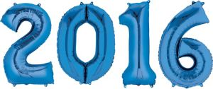 Blue 2016 Number Balloons 4pc