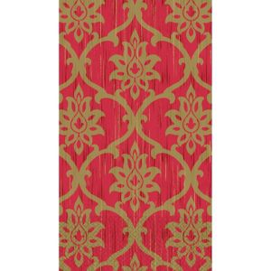 Festive Red & Gold Damask Guest Towels 16ct