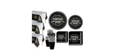 Vintage Dude Party Kit for 32 Guests