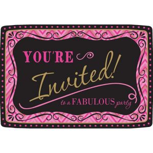 Pink Chevron Birthday Invitations 20ct - Born to Be Fabulous