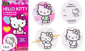 Hello Kitty Valentine Exchange Cards with Coloring Tools 16ct