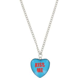 Blue Kiss Me Conversation Heart Necklace
