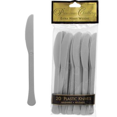Silver Premium Plastic Knives 20ct