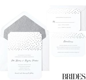 Metallic Silver Dot Scalloped Printable Wedding Invitations Kit 30ct