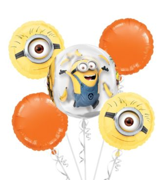 Minion Balloon Bouquet 5pc - Orbz Despicable Me
