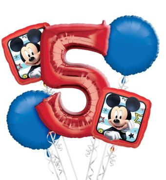 Mickey Mouse 5th Birthday Balloon Bouquet 5pc