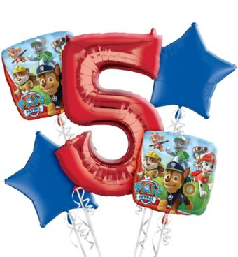 PAW Patrol 5th Birthday Balloon Bouquet 5pc