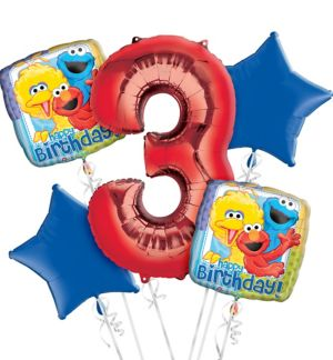 Sesame Street 3rd Birthday Balloon Bouquet 5pc