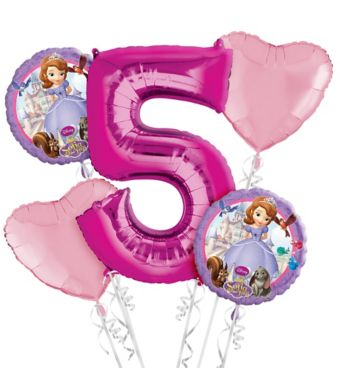 Sofia the First 5th Birthday Balloon Bouquet 5pc