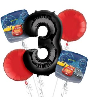 Cars 3rd Birthday Balloon Bouquet 5pc