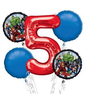 Avengers 5th Birthday Balloon Bouquet 5pc