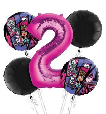 Monster High 2nd Birthday Balloon Bouquet 5pc