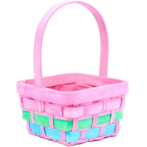Small Pink Wood Easter Basket