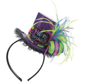 Purple Birthday Mini Top Hat Headband