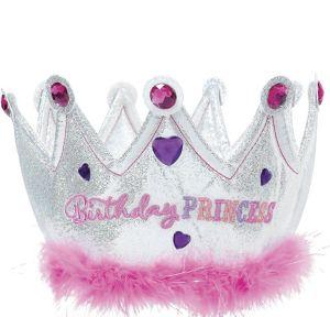Pink Plush Birthday Princess Crown
