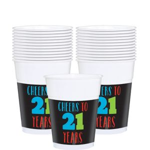 Brilliant 21st Birthday Plastic Cups 25ct