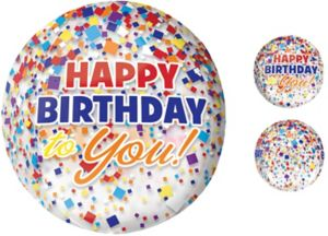 Rainbow-fetti Happy Birthday Balloon - See Thru Orbz