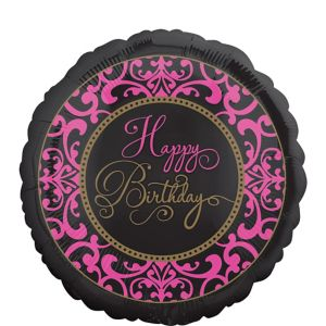 Damask Happy Birthday Balloon - Fabulous Celebration