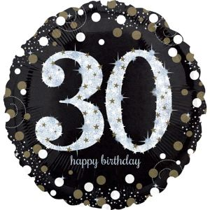 30th Birthday Balloon - Sparkling Celebration