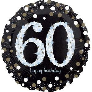 60th Birthday Balloon - Sparkling Celebration