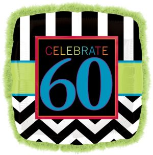 60th Birthday Balloon - Boa Square Chevron