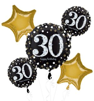 30th Birthday Balloon Bouquet 5pc - Sparkling Celebration