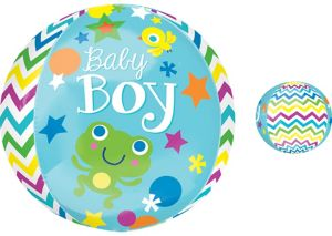 Baby Shower Balloon - Orbz Chevron Sweet Baby Boy