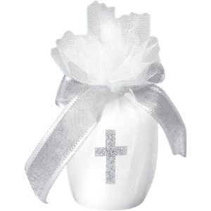 Glitter Cross White Votive Candle