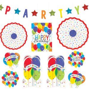 Rainbow Balloon Bash Birthday Room Decorating Kit 10pc