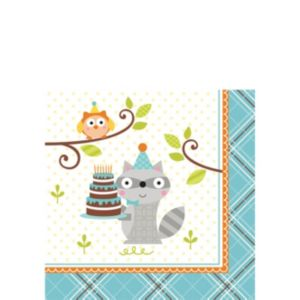 Boy Birthday Beverage Napkins 16ct - Happi Woodland