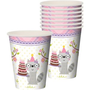 Girl Birthday Cups 8ct - Happi Woodland