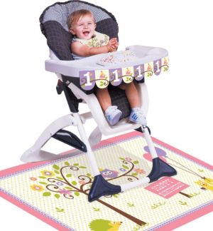 Girl 1st Birthday High Chair Decorating Kit 3pc - Happi Woodland