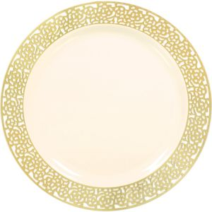 Cream Gold Lace Border Premium Plastic Dinner Plates 10ct