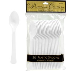 White Premium Plastic Spoons 20ct