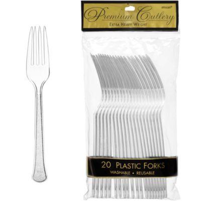 CLEAR Premium Plastic Forks 20ct