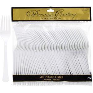 White Premium Plastic Forks 48ct
