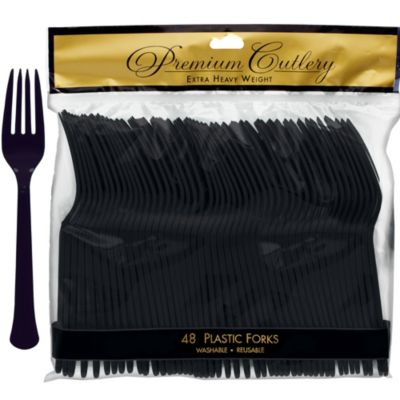 Black Premium Plastic Forks 48ct