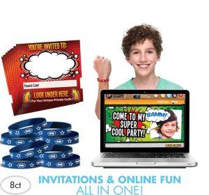 Comic Invite Bandz Party Invitation Wristbands for 8