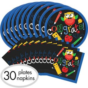 Schoolhouse Chalkboard Graduation Tableware Combo Pack for 30