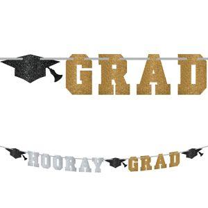 Glitter Hooray Grad Letter Banner - Black, Gold & Silver Graduation