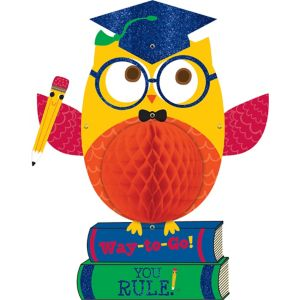 Glitter Graduation Owl Honeycomb Ball - Schoolhouse Chalkboard Graduation