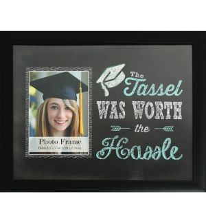 Black The Tassel Was Worth the Hassel Graduation Photo Frame