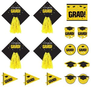 Yellow Graduation Cutouts 16ct - Congrats Grad