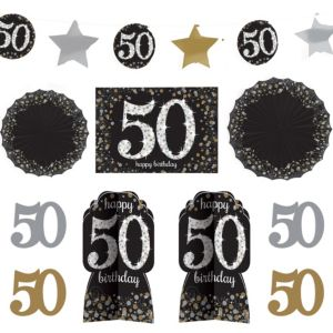 50th Birthday Room Decorating Kit 10pc - Sparkling Celebration