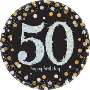 Prismatic 50th Birthday Lunch Plates 8ct - Sparkling Celebration