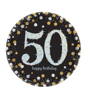 Prismatic 50th Birthday Dessert Plates 8ct - Sparkling Celebration