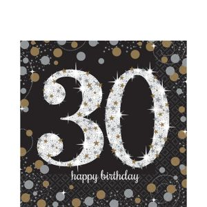 30th Birthday Lunch Napkins 16ct - Sparkling Celebration