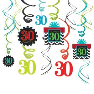 Celebrate 30th Birthday Swirl Decorations 30ct