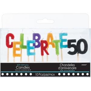 Glitter Celebrate 50 Birthday Toothpick Candle Set 10pc