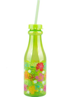 Green Hibiscus Plastic Soda Bottle